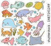 set of sea animal kawaii doodles | Shutterstock .eps vector #1487141249