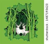 paper art and digital craft... | Shutterstock .eps vector #1487193623