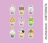 cute boba tea animals... | Shutterstock .eps vector #1487200676