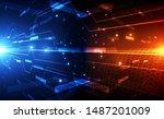abstract futuristic digital...   Shutterstock .eps vector #1487201009