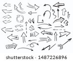 set of hand drawn arrows.... | Shutterstock .eps vector #1487226896