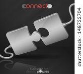 metal puzzle. connect. vector... | Shutterstock .eps vector #148722704