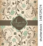 retro floral card for events | Shutterstock .eps vector #148729274