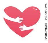 embrace heart shape logo design ... | Shutterstock . vector #1487293496