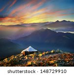 at the top of the mountain to... | Shutterstock . vector #148729910