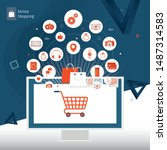 online shopping and online... | Shutterstock .eps vector #1487314583
