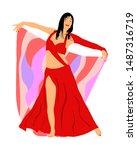 belly dancer woman coquette... | Shutterstock .eps vector #1487316719