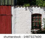 Old White Brick Wall With Red...