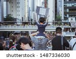 Small photo of HONG KONG, CHINA - JULY 1, 2019: 550,000 Hong Kong citizens took to the streets in an annual protest on July 1 to urge the government to retract the controversial extradition bill.