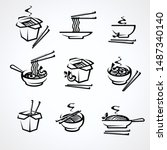 noodle set. collection icon... | Shutterstock .eps vector #1487340140