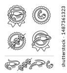 shrimp labels and elements set. ... | Shutterstock .eps vector #1487361323