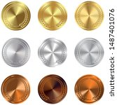 set of gold  silver and bronze... | Shutterstock . vector #1487401076