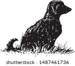 Stock vector vector drawing of silhouette of black dog sitting in grass 1487461736