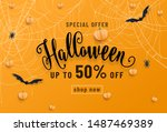 halloween sale banner  party... | Shutterstock .eps vector #1487469389