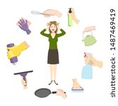 housewife woman stress from... | Shutterstock .eps vector #1487469419