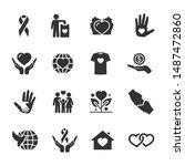 vector set of charity  donation ... | Shutterstock .eps vector #1487472860