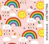 pink seamless pattern with cute ...   Shutterstock .eps vector #1487487986