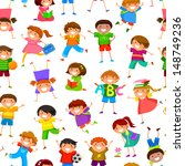 seamless pattern with cartoon... | Shutterstock . vector #148749236