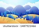 mountains landscape with golden ... | Shutterstock .eps vector #1487521466
