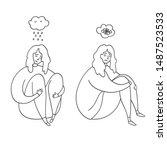 upset and depressed women hug...   Shutterstock .eps vector #1487523533