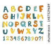 vector funny comic dino... | Shutterstock .eps vector #1487529689