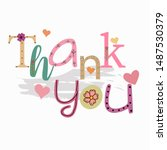 cute thank you text card with... | Shutterstock .eps vector #1487530379