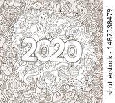 2020 hand drawn doodles contour ... | Shutterstock .eps vector #1487538479