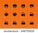 printer icons on orange...