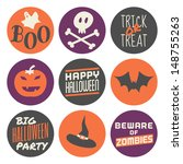 a set of nine halloween... | Shutterstock .eps vector #148755263