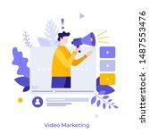 man holding bullhorn or... | Shutterstock .eps vector #1487553476