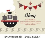 pirate party card design.... | Shutterstock .eps vector #148756664