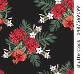 seamless pattern floral with... | Shutterstock .eps vector #1487569199