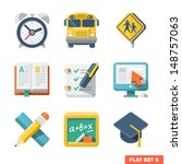 school and education flat icons ...