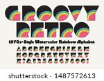 vector font  a groovy retro... | Shutterstock .eps vector #1487572613