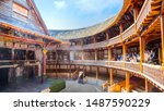 Small photo of London, UK - May 22 2018: Shakespeare's Globe is a reconstruction of the Globe Theatre, associated with William Shakespeare, in the London Borough of Southwark. The original theatre was built in 1599