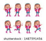 Stock vector kid expressions wear autumn winter clothing vector 1487591456