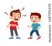 kid bully friend bad behavior... | Shutterstock .eps vector #1487591570