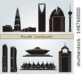 Riyadh landmarks and monuments isolated on blue background in editable vector file - stock vector