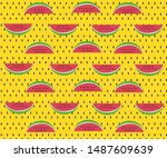 watermelon  yellow  red and... | Shutterstock . vector #1487609639