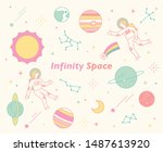 infiniti space astronauts and... | Shutterstock .eps vector #1487613920