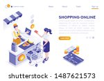 paper customer pay at store.... | Shutterstock .eps vector #1487621573