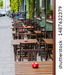 outside restaurant empty seats at stret in munich germany
