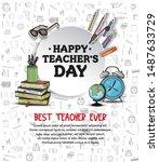 happy teachers day vector...   Shutterstock .eps vector #1487633729
