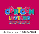 vector colorful funny font.... | Shutterstock .eps vector #1487666093