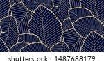 seamless leafs pattern dark... | Shutterstock . vector #1487688179