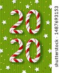 new year concept   2020 candy... | Shutterstock .eps vector #1487693153