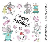 funny mouse and the inscription ...   Shutterstock .eps vector #1487699450