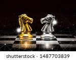 Small photo of gold knight chess facing silver knight chess on chess board and abstraction connection line network screen, business strategy concept