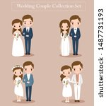 cute bride and groom couple set ... | Shutterstock .eps vector #1487731193