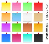 set of blank post it notes with ... | Shutterstock . vector #148773710